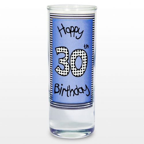 Blue 30th Happy Birthday Shot Glass - Gift for 30th Birthday